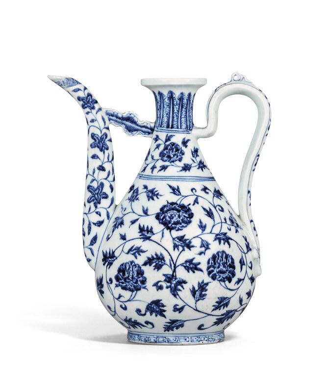 An exceptional early-Ming blue and white 'Peony scroll' ewer, Yongle period (1403-1425)