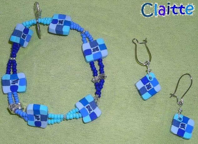 bracelet boucles oreilles bleu