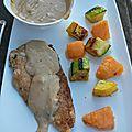 Filet de poulet, courgettes et melon grillés, sauce au miel / la plancha eno