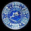 Dish, fritware, painted in underglaze cobalt blue with s scholar in a landscape, iran, 1600-1640