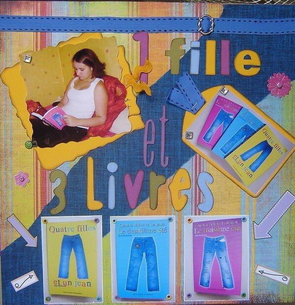 page 1 fille et 3 livres