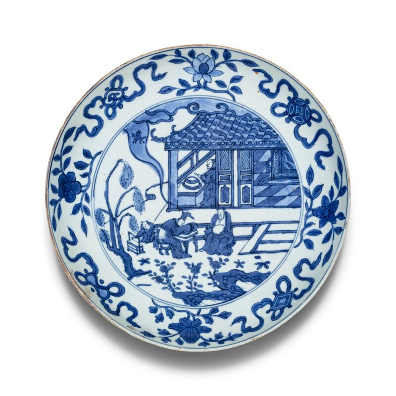 A blue and white 'scholar' dish, mark and period of Wanli