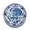 A blue and white 'scholar' dish, mark and period of wanli (1573-1619)