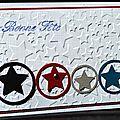 71. blanc, rouge, noir, gris et bleu - étoiles