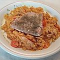 Pavés de saumon et lentilles corail à la truite fumée au lait de coco