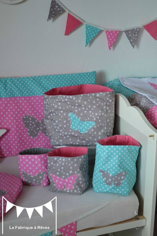 pochons rangement r versibles chambre b b fille rose turquoise gris toiles pois papillon. Black Bedroom Furniture Sets. Home Design Ideas