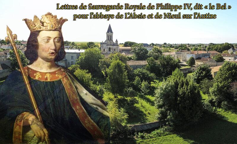 Lettres de Sauvegarde Royale de Philippe IV, dit « le Bel » pour l'abbaye de L'Absie et de Nieul sur l'Autize