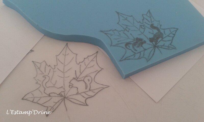 automne ecureuil tampon gravure sur gomme (2)