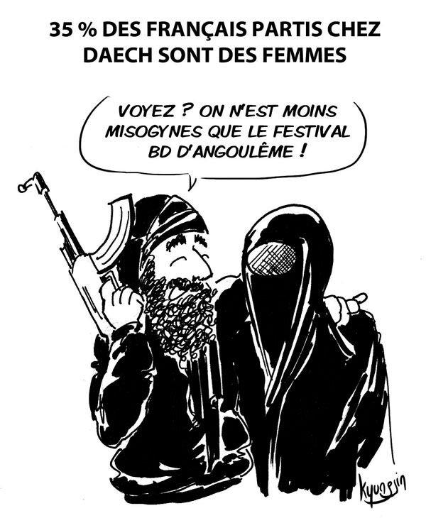 dessin daech avec une femme en burka, misogynie, festival BD Angoulême