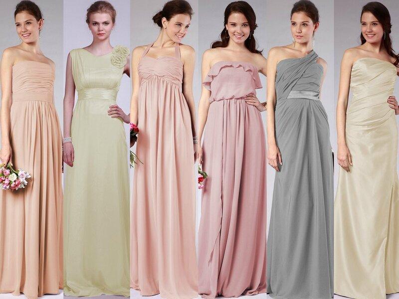 demoiselles d'honneur robe en 6 style couleurs