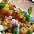 Salade de potiron grillé au sésame bicolore et au miel- 1,5pt/pers