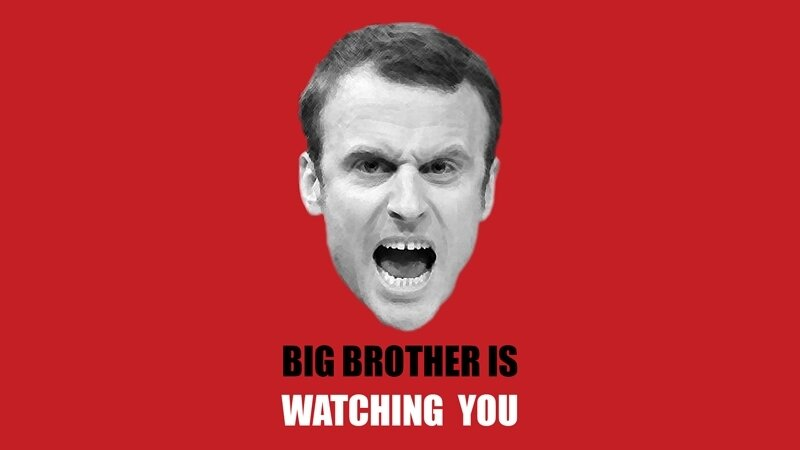 Macron-en-Big-brother-is-watching-you-Exoportail