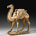 A painted gray pottery camel, tang dynasty (618-906)