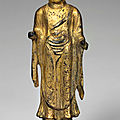A gilt-bronze standing figure of shakyamuni buddha, unified silla dynasty (8th - 9th century)