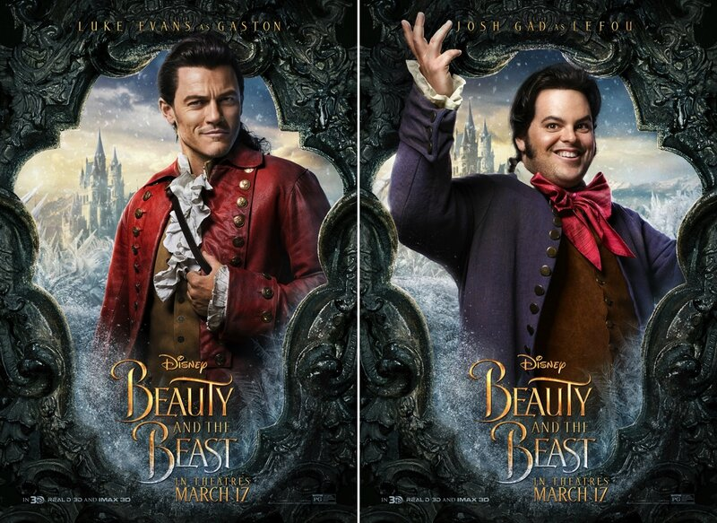 Luke Evans_Gaston and Josh Gad_LeFou_Beauty and The Beast