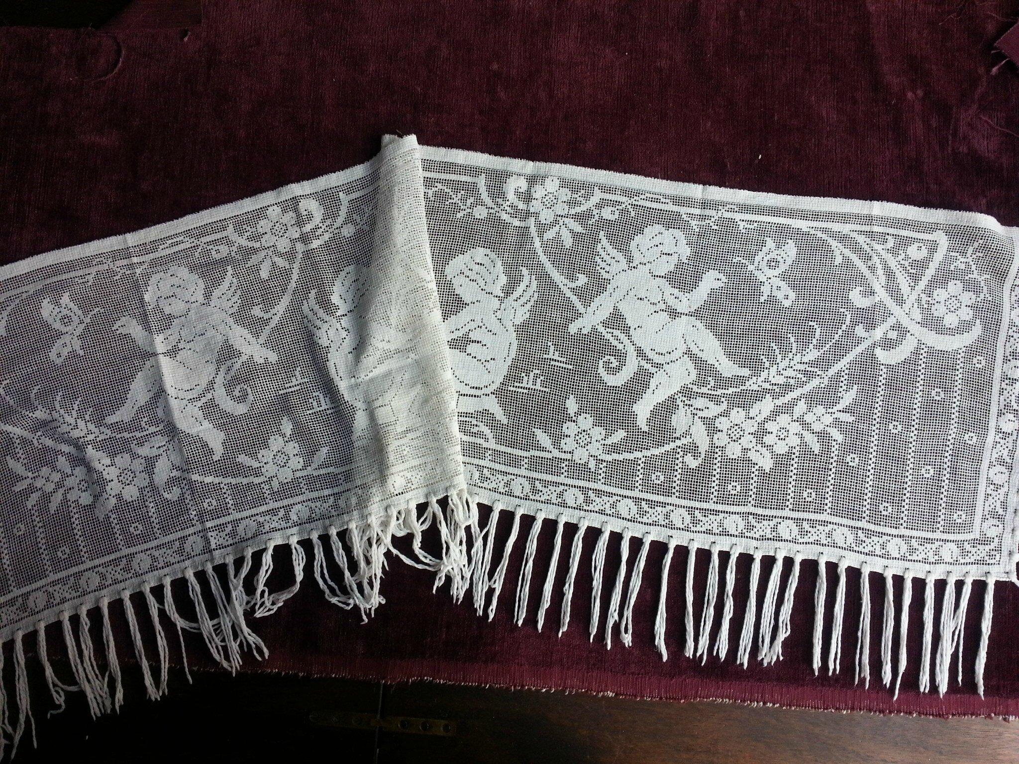 1641 ancien rideau en dentelle au filet