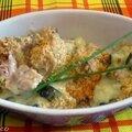 Gratin de courgettes au thon et crumble au pecorino