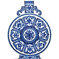 A superb large ming-style blue and white 'bajixiang' moonflask, qianlong seal mark and of the period (1736-1795)