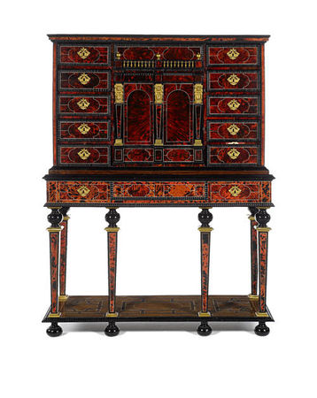 A_Flemish_17th_century_gilt_metal_and_brass_mounted__ivory_inlaid_tortoiseshell__rosewood__ebony_and_ebonised_cabinet_on_stand1