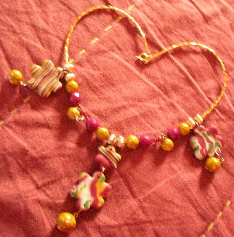 des fleurs en mokumé - Collier (vue 1)