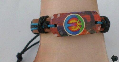 Bracelet Cuir Tressé Marron Stlye Surfeur Peace In Love Réglable Unisexe