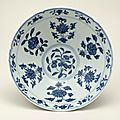 Blue-and-white bowl with flowers and fruits, Ming dynasty, Xuande mark and period, AD1426–35