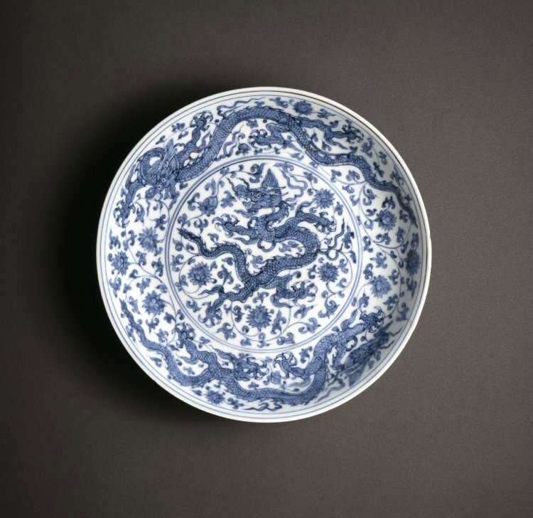 Blue and white 'Dragon' dish, Ming dynasty, Zhengde mark and period (1506-1521)