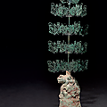 A rare and large bronze and green-glazed pottery 'money tree', eastern han dynasty, 1st-3nd century ad