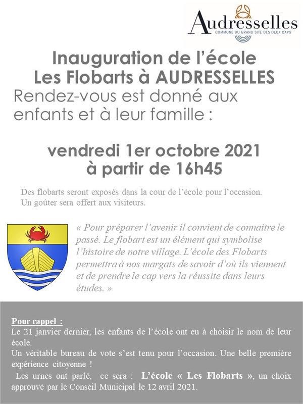 affiche inauguration école les flobarts