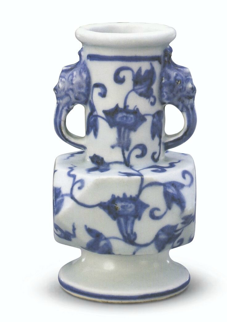 A rare blue and white facetted vase, Xuande mark and period (2)