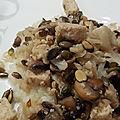 Chou-fleur écrasé et rôti aux champignons et dés de quorn