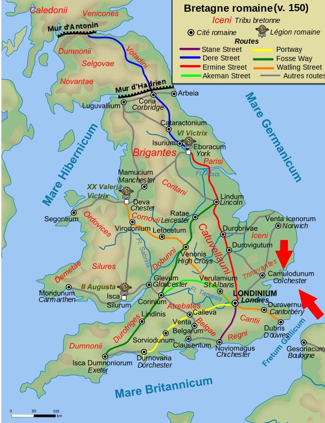 Province romaine de Bretagne en 150, montrant les tribus autochtones, les villes, les routes principales et les légions romaines déployées