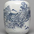 A large blue and white 'landscape' vase, qing dynasty, 18th century