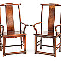 A pair of 'huanghuali' yokeback armchairs, qing dynasty