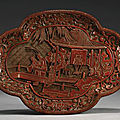 A carved cinnabar lacquer quatrelobed dish, ming dynasty (1368-1644)