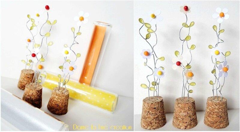 tubes en verre-éprouvettes_fleurs_paquerettes_fil de fer_damelalune_ création originale