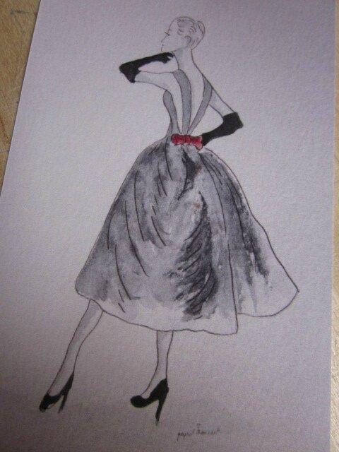 Carte postale - Robe noire et noeud rouge (2)