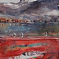 2eme aquarelle du lac d'annecy en crue, vue sur le parmelan