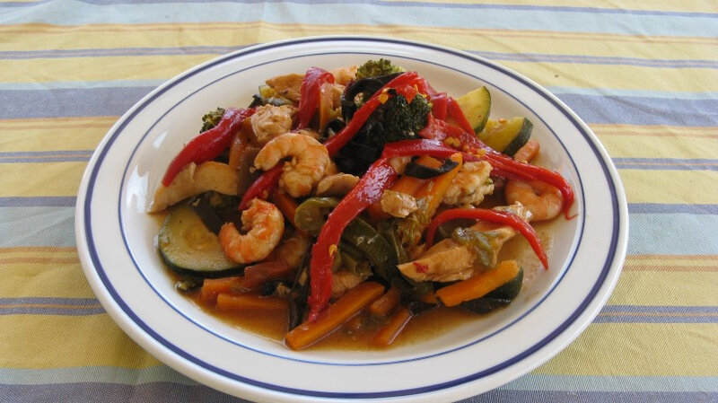 Tajine de poulet aux gambas et légumes2