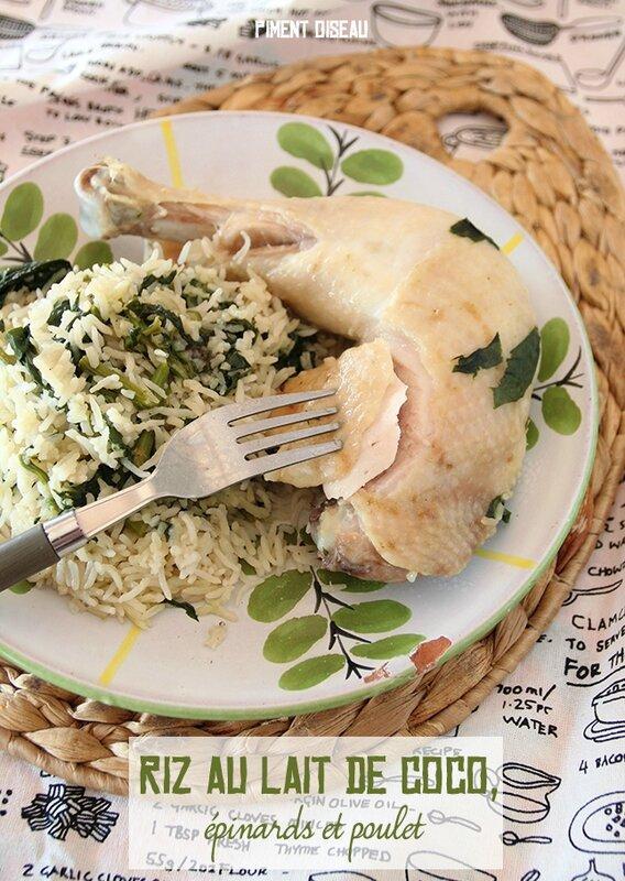 riz au lait de coco, épinards et poulet-rice cooker coconut milk, spinach and chicken rice
