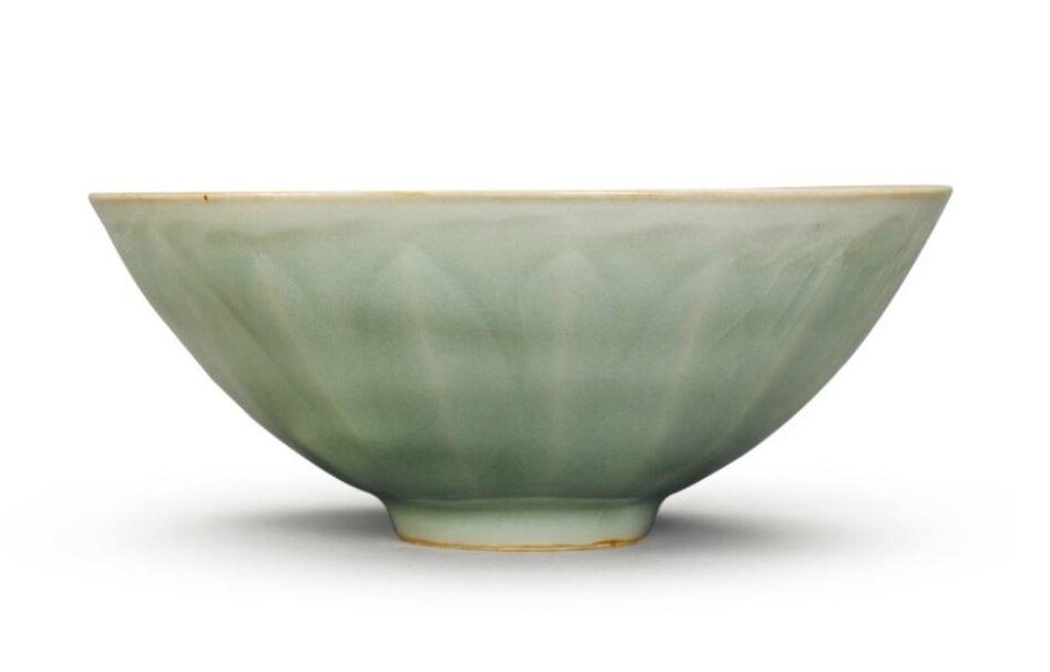 A moulded 'Longquan' celadon bowl, Yuan dynasty
