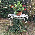 Coiffeuse fer forgé transformée en porte-plantes