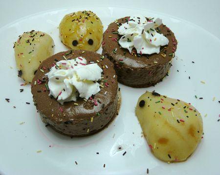 Mousse au chocolat poires souris