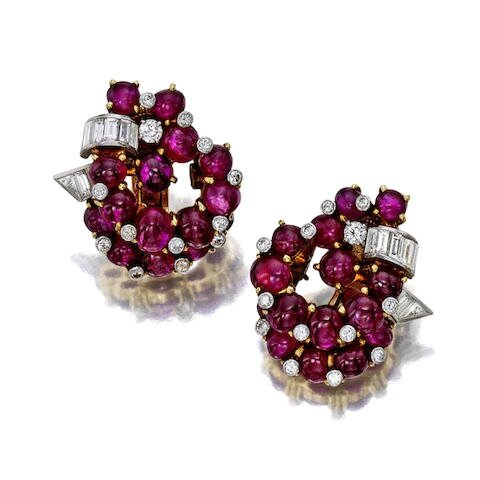 A pair of ruby and diamond earclips, Cartier