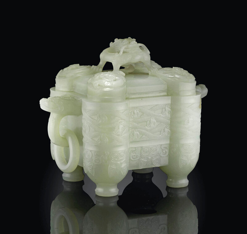 A pale celadon jade archaistic vessel and cover, tulu, Qianlong period (1736-1795)