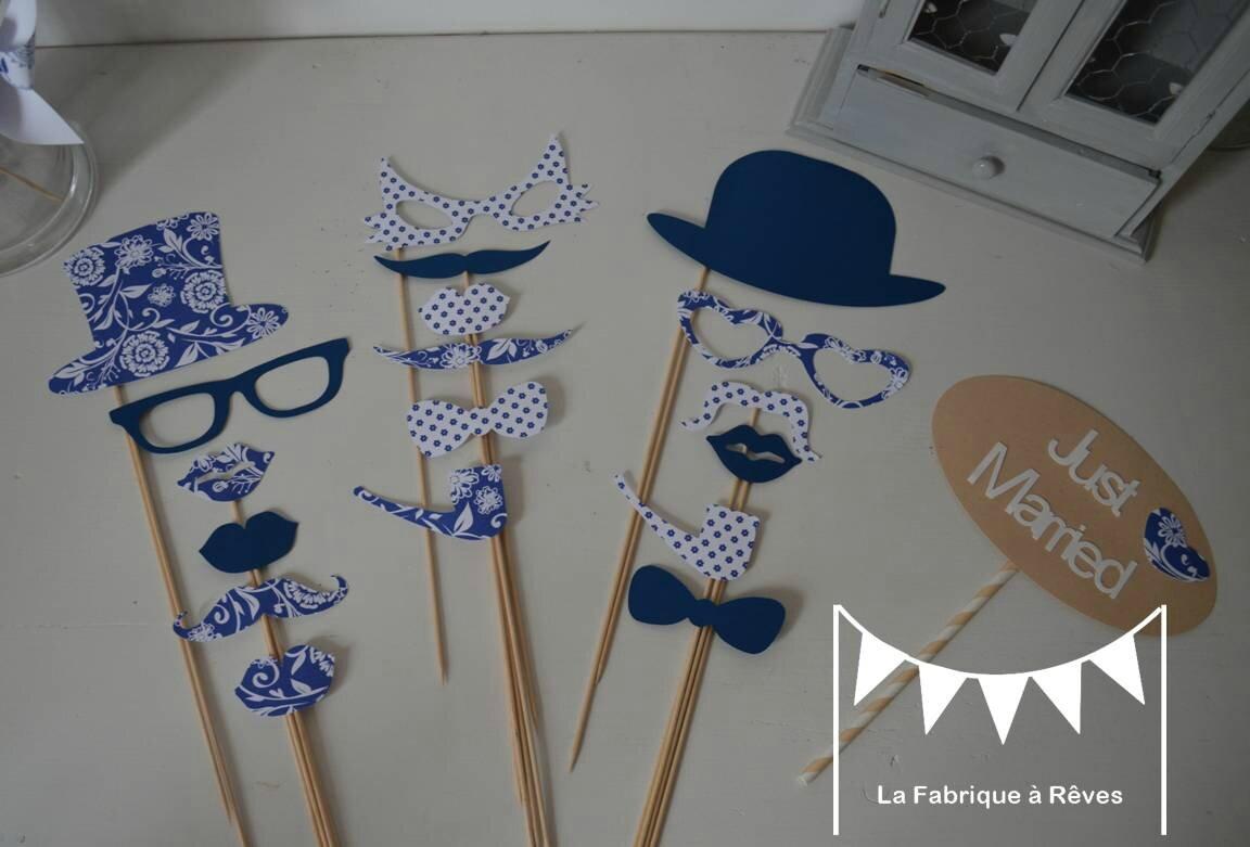 accessoires photobooth bleu marine et blanc mariage baptme anniversaire