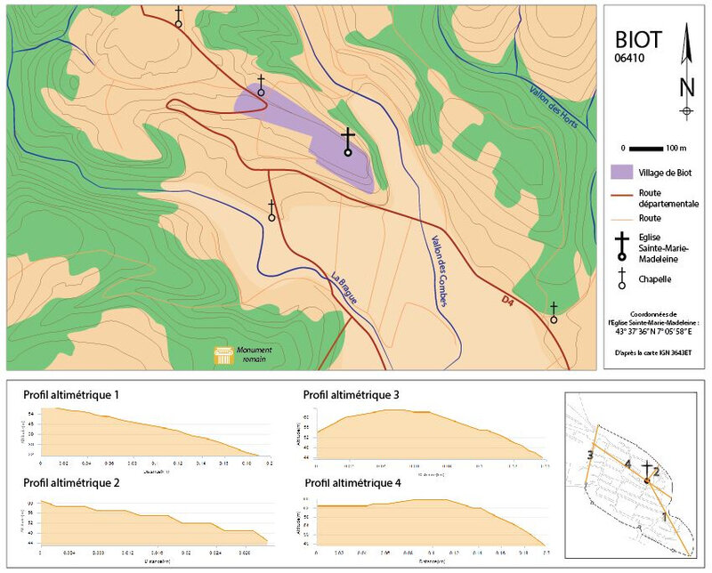 Fig. 1 : carte topographique de Biot et de la plaine de la Brague