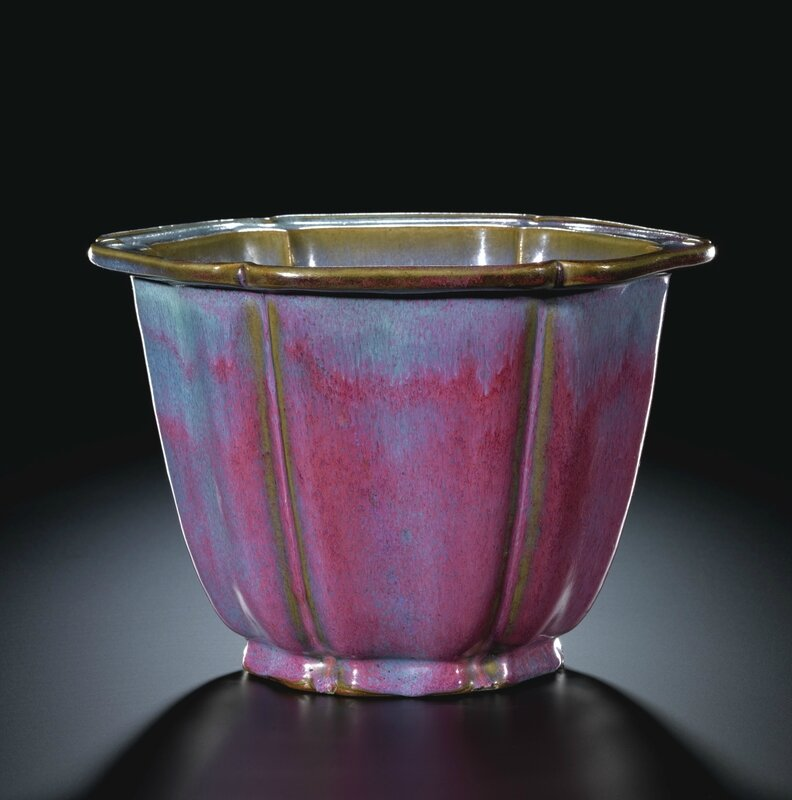 A magnificient and rare 'jun' mallow-shaped lavender-glazed Imperial flowerpot