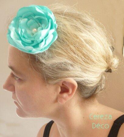 grande fleur cheveux menthe à l'eau vert 3