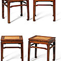 A set of four huanghuali rectangular stools, late ming dynasty